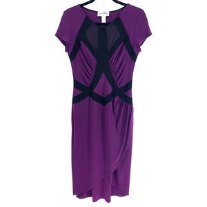 Joseph Ribkoff Purple Mesh Midi Faux Wrap Dress